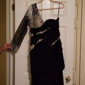 One shoulder long sleeve black Cinderella dress